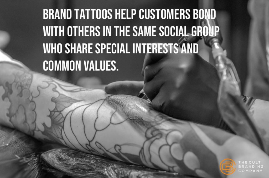 Brand tattoos help customers bond with others in the same social group who share special interests and common values.