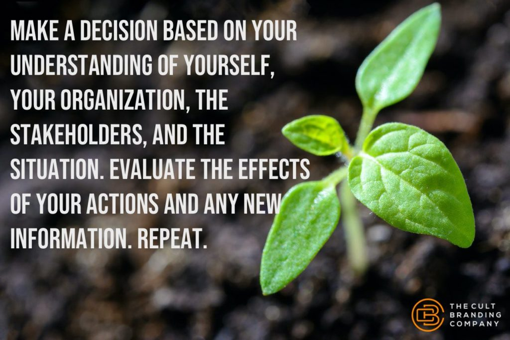 Make a decision based on your understanding of yourself, your organization, the stakeholders, and the situation. Evaluate the effects of your actions and any new information. Repeat.