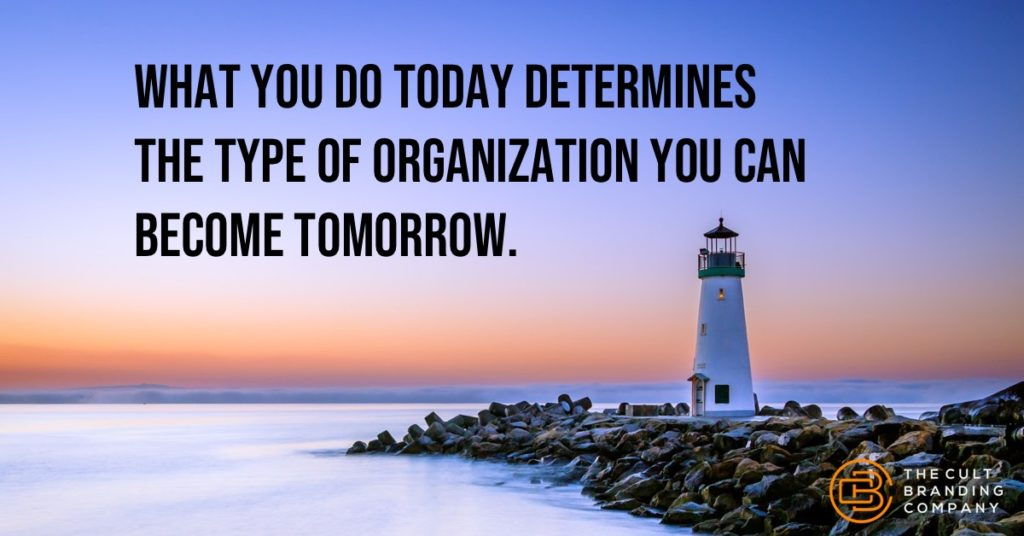 WHAT YOU DO TODAY DETERMINES THE TYPE OF ORGANIZATION YOU CAN BECOME TOMORROW.